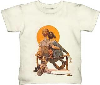 Yizzam- Norman Rockwell - Boy and Girl Gazing at th.-Tshirt- Kids Shirt 2399-X-Large