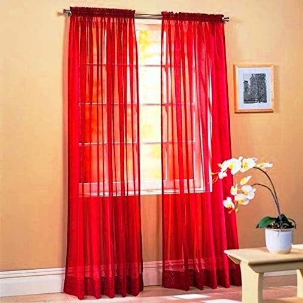 Sapphire Home 2 Panels Window Sheer Curtains 54 X 84 Inches 108 Total Width Voile Panels For Bedroom Living Room Rod Pocket Decorative Curtains Solid Sheer Curtains Red