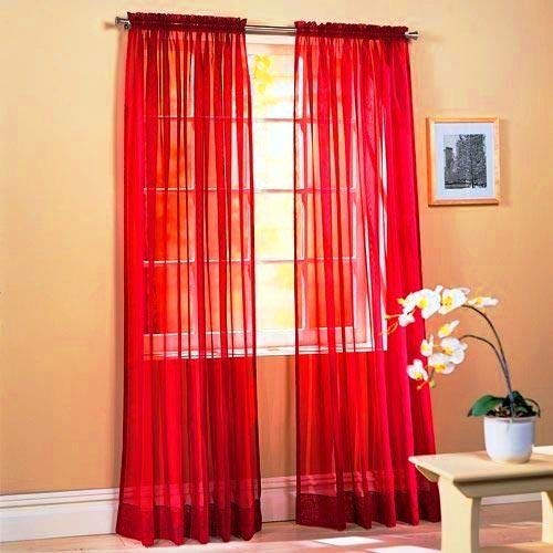 """2 Panels Window Sheer Curtains 54"""" x 84"""" Inches (108"""" Total Width), Voile Panels for Bedroom Living Room, Rod Pocket, Decorative Curtains, Solid Sheer Curtains Red"""