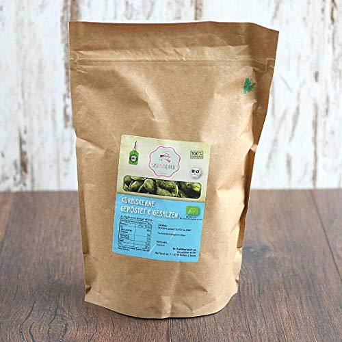 süssundclever.de® Bio Kürbiskerne | geröstet & gesalzen | aus Österreich | 1,0 kg | plastikfrei und ökologisch-nachhaltig abgepackt