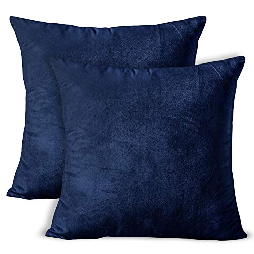 Encasa Homes VELVET Cushion Covers 2pc Set (50 x 50 cm) - Navy Blue - Solid Plain Colour Dyed, Soft & Smooth, Washable, Square Decorative Large Throw Pillow Case for Couch, Sofa, Chair, Bed & Home