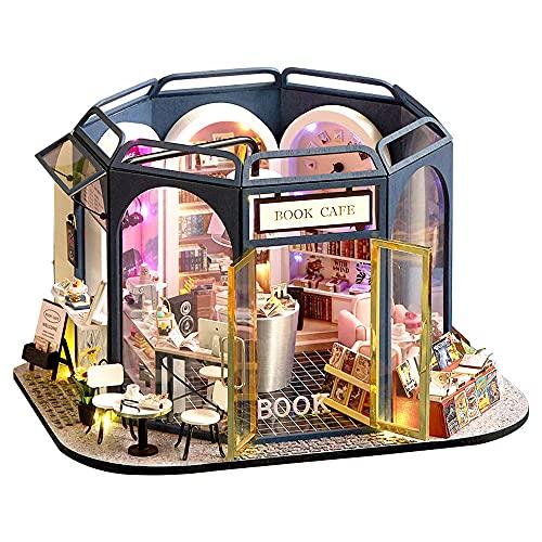 moin moin 1/24 ドールハウス ミニチュア 手作りキット セット ブック カフェ 本屋 音楽 ミュージック 本ケーキ 大型   LEDライト(3色) + アクリルケース 2108DH279