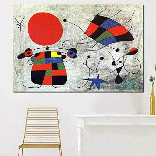 Leinwand Bild Kunst Wand HD-Drucke Home Decoratie Spaans Jan Miro Schilderijen Nordic Creatieve Poster Modulaire Voor Kinderen Kamer Rahmenlos 50x70