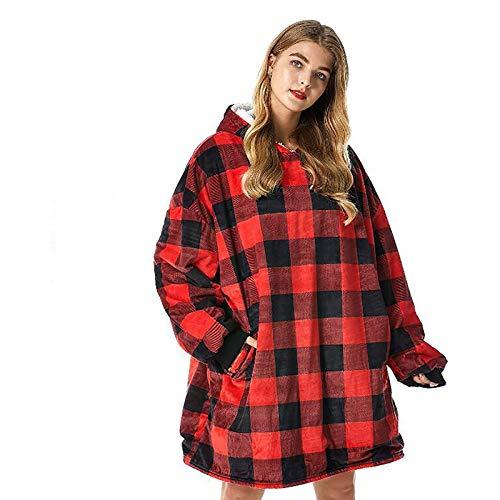 KPII Manta Sudadera con Capucha, Calentita Grande Pullover Mullido de Doble, Manta de TV para Hombres, Mujeres,Rojo,One Size