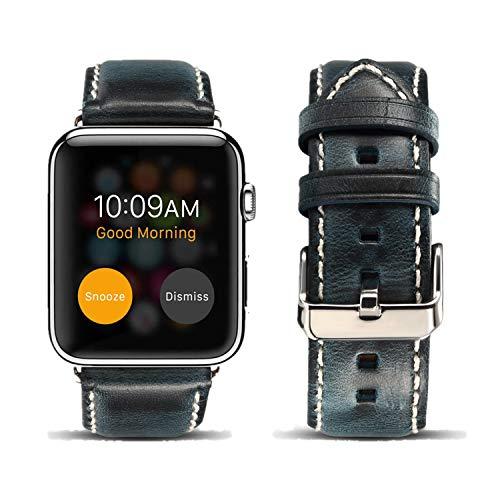 DaGeLon Cinturino per Apple Watch 44mm Series 4 42mm Serie 3 Series 2 Serie 1, Uomo Retrò Cinghia di Ricambio in Pelle Genuino Eccellente Cuoio Sostituzione Bracciale per iWatch Sport Edition, Blu
