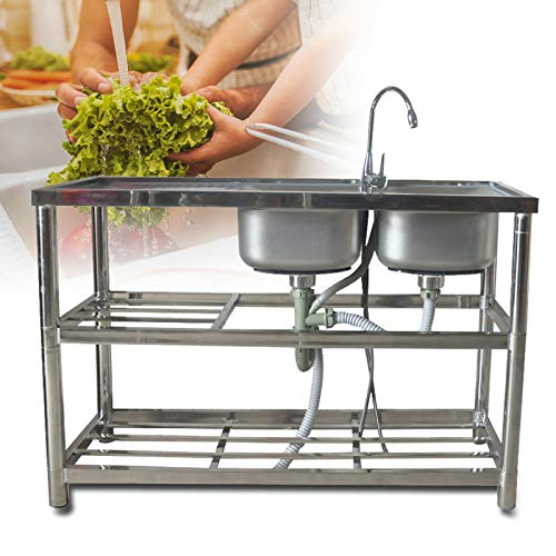DNYSYSJ 2 Compartment Stainless Steel Commercial Kitchen Prep & Utility Sink with 2 Drainer & 2 Shelves, Kitchen Stand Utility Sink With Drainboard for Garage, Restaurant