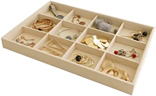 Stackable Jewelry Display Tray Case Organizer Premium Velvet Soft Beige Home Store Sales Shows (12 Grid)
