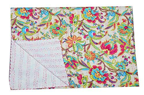 Indian-Shoppers Colcha de algodón hecha a mano con estampado floral beige Kantha India colcha colcha colcha reversible de tamaño doble para dormitorio Ralli