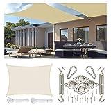 XIUDADA Toldo Vela de Sombra Rectangular 3x4 m con Kit de Acero Inoxidable protección UV para Jardín, Camping, Terraza, Balcón, Antracita,Beige,4 * 5m