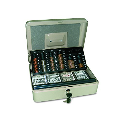 PM Company SecurIT 3 In 1 Cash Box, 11.5 x 9.5 x 3.5 Inches, Pebble Beige, 1/Carton (04967)