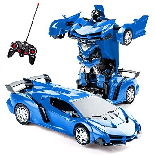 Highttoy Kinder Ferngesteuertes Transformers Auto Spielzeug RC Roboter Auto Spielzeug 2 in 1 Verformung RC Auto Transformers Spielzeug für 5-12 Jahre alte Jungen Geschenk 1:18 RC Rennwagen Blau