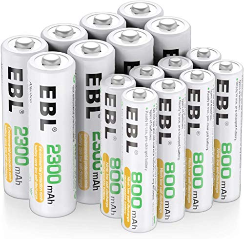 EBL 16pcs Kit AA et AAA Piles Rechargeables avec 8X AA 2300mAh et 8X AAA 800mAh