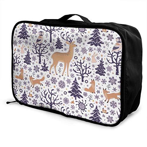 Bolsa de lona de viaje, Bolsa con ruedas para equipaje de viaje Maletas ligeras portátiles Bolsa de lona con diseño de animales del bosque de invierno