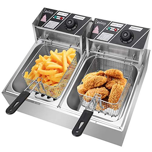 Electric Deep Fryer with Basket, Stainless Steel, Easy to Clean Deep Fryer, Oil Filtration, Professional Grade, with Thermostats (5000W, 12.7QT/12L,Double Cylinder)