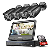 """Sannce 4CH 1080N Security Camera System, 1TB HDD+ 10.1"""" LCD Screen Monitor Build-in"""