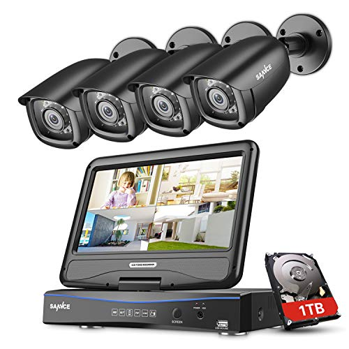 Sannce 4CH 1080N Security Camera System, 1TB HDD+ 10.1' LCD Screen Monitor Build-in, 4X 2 .0MP...