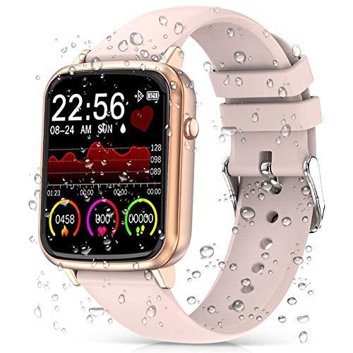 DOOK Smartwatch, Relojes Inteligentes Mujer Hombre, Pulsera Actividad Inteligente Impermeable IP68,Reloj Fitness con Pulsómetro, Cronómetros,Monitor De Sueño,Podómetro para Android iOS Pink