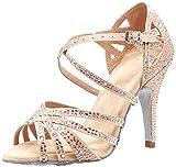 MGM-Joymod Mujeres Peep Toe Cruz Correa Rhinestones Tango Social Salón de Baile Latino Moderno Zapatos de Baile de Boda Sandalias, Tacón beige de 10 cm., 37 EU