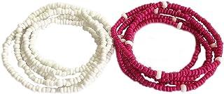 Zoylink 2PCS Beads Waist Chain Belly Chain Waist Boho Body Jewelry for Women