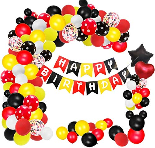 156 Pcs Cartoon Mouse Balloons Arch Garland Kit 18'' 12'' 10'' 5'' Foil Confetti Black Red Yellow White Latex Balloons for Mouse Theme Birthday Party Supplies Baby Shower Birthday Wedding Decoration …