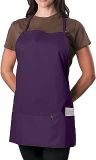6 Pack -Purple Adjustable Bib Apron - 3 Pocket