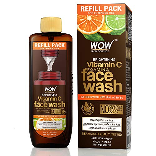 WOW Skin Science Brightening Vitamin C Foaming Face Wash Refill Pack - For Skin Brightening and Smooth Skin - For Extended Use - No Parabens, Sulphate, Silicones & Color, 200 ml