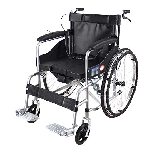 ZHONGXIN Lightweight Folding, Portable Transit Travel Chair-Attendant-Propelled Wheelchair, Self Propelled Wheelchair with Hand Brakes and Foot Rest, for The Elderly and Children (Black A)