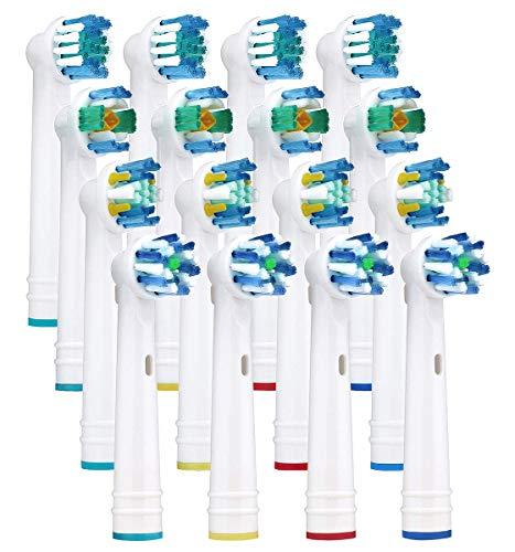 Yanaboo 16 Stück Aufsteckbürsten Ersatzbürsten Ersatz Zahnbürsten mit Braun Oral B elektrische Zahnbürsten Vitality Pro Smart Genius für Precision Floss Cross Whitening Clean