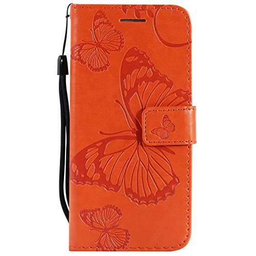 Hancda Coque pour Samsung Galaxy A3 2017 / A320, Housse Coque Flip Case Cuir Porte Carte Magnétique Portefeuille Cover Etui Support Antichoc Coque pour Samsung Galaxy A3 2017 / A320,Orange