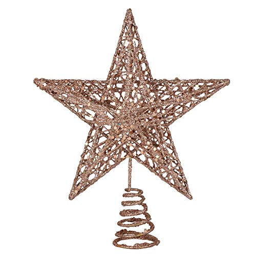 Christmas Tree Gold Rose Ornaments Decorations Topper for decoration-20cm Christmas Tree Iron Star Topper Glittering Christmas Tree Decoration Ornaments (Rose Gold) Christmas Ornament