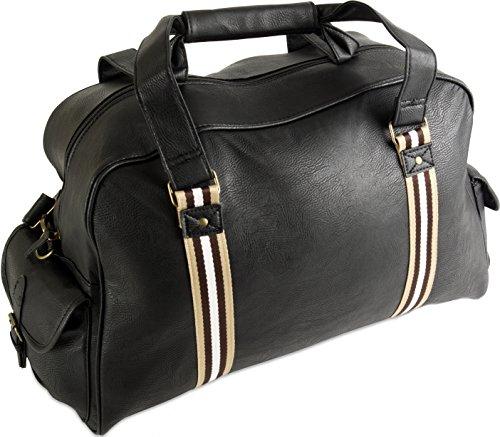 Borsa da cabina per uomo o donna, in finta pelle adatto come bagaglio a mano, per Easyjet, Ryanair, British Airways, Jet 2, Virgin e molte altre compagnie aeree Multicolore Nero / grigio carry on cabin bag