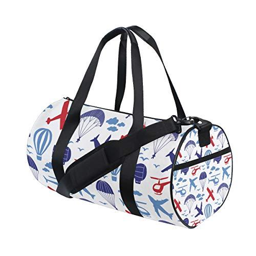 ZOMOY Sporttasche,Muster Flugzeuge Hubschrauber Fallschirm,Neue Druckzylinder Sporttasche Fitness Taschen Reisetasche Gepäck Leinwand Handtasche