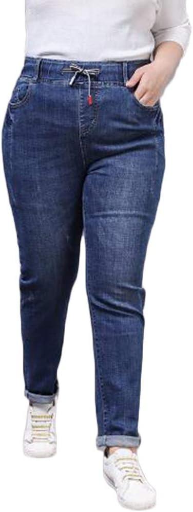 Nqfl De La Mujer Pantalones De Mezclilla Alta Subida Del Estiramiento Elastico Flojo Del Cordon De Los Pantalones Rectos Harem Color Blue Size 34 Amazon Es Hogar