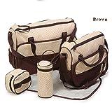 JIAHE 5 unids multifunción bebé pañal pañal Bolsa para mamá bebé biberón Madre Momia Cochecito de Maternidad Bolsas de pañales Conjuntos,Brown