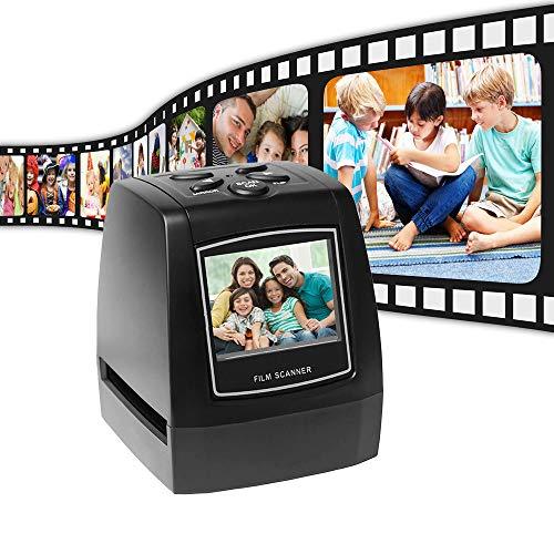 NBLYW Diashow-scanner, converteert film/diapositieven/negatieve 35 mm 135 110 126 en Super 8 in digitale foto's JPG, LCD-display 2.4, inzetstukken van film voor eenvoudig opladen
