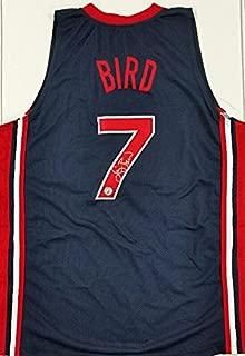 LARRY BIRD Signed Team USA Blue Jersey + BIRD HOLOGRAM