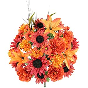 Admired By Nature GPB5430-RUST 36 Stems Home Office/Wedding/Restaurant Decoration Arrangement Lily/Peony/Sunflower/Daisy/Mum Greenery with Foliage Flowers Bush, Rust Mix