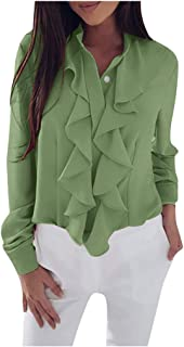2020 Women Blouses and Tops Fashion Ruffle Front Long Sleeve Shirts Casual Ladies Sexy slem Elegant Office tee Tshirt