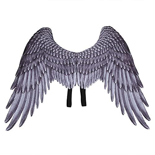FOTABPYTI Cosplay-Flügel, leicht und komfortabel Bequem und praktisch Ideale Wahl Hochwertiger Materialflügel, Bildungseinrichtung für frühe Bildung(Black Children's Angel Wings DS18002B)
