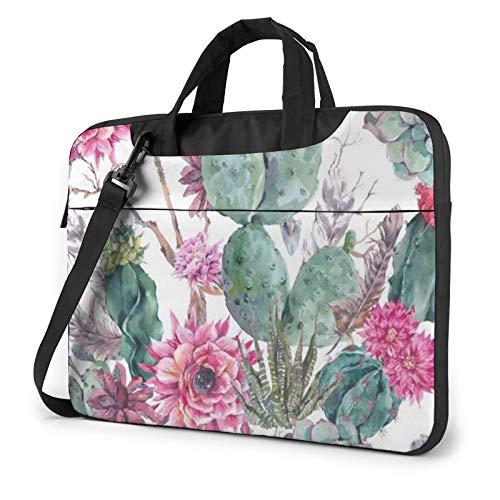 Waterproof Laptop Shoulder Messenger Bag Cacti Succulent Red Flower Bonsai Printed Case Sleeve for 14 Inch Laptop Case Laptop Briefcase
