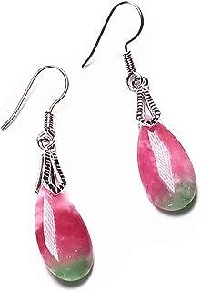 yigedan Natural Red Green Jade Gemstone Bead Earrings Silver Hook Gift Women Jewelry