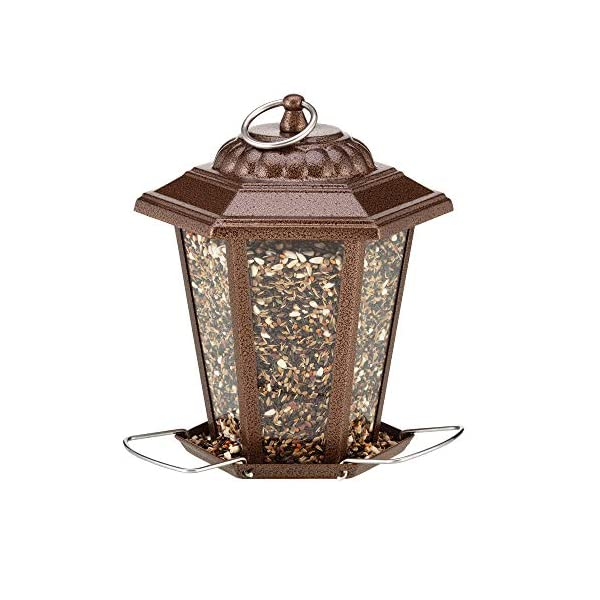 Happy Beaks Carriage Style Lantern Seed Feeder for Wild Garden Birds, with Easy To Fill Lid & 3 Perches