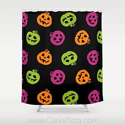 Fantasievolle Halloween douchegordijn decoratieve badkuip badkamer interieur black Jack O lantaarn pompoen gezicht patroon lila oranje