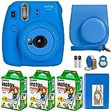 FujiFilm Instax Mini 9 Instant Camera + Fujifilm Instax Mini Film (60 Sheets) Bundle with Deals Number One Accessories Including Carrying Case, Selfie Lens, Photo Album (Cobalt Blue)
