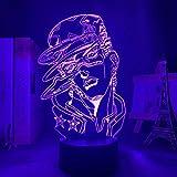 3D Anime Illusion Night Light Lamp JoJo Bizarre Adventure for Bedroom Decor Birthday Gift Manga JoJo Figure Led Jotaro Kujo-Remote Control