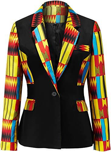 Shenbolen Women African Print Coat Notched Lapel Pocket Blazer Jacket(D,X-Large
