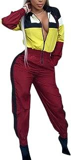 Women Sport Jumpsuits Color Block Lightweight Windbreaker Long Jumpsuits Romper
