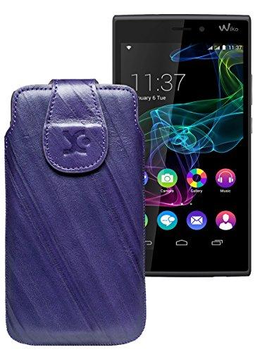 Original Suncase Tasche für / BlackBerry Leap / Leder Etui Handytasche Ledertasche Schutzhülle Hülle Hülle / in wash-dunkel-lila