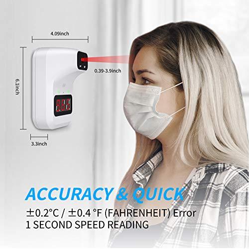 SOYES termometro digitale professionale a infrarossi, senza contatto, ampio display LCD chiaro, sensore a infrarossi e allarme febbre, ufficio scolastico, staffa per montaggio a parete(bianca)