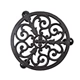 Sungmor Heavy Duty Cast Iron Plant Caddy,11' Round Potted Plant Stand Flower Pot Rack on 3 Solid Wheels,Indoor Outdoor Planter Holder Trolley Casters Rolling Tray